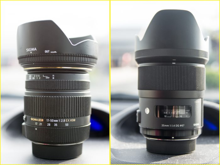 35㎜ F1.4Artで撮影(左) 17-50㎜ F2.8で撮影(右)